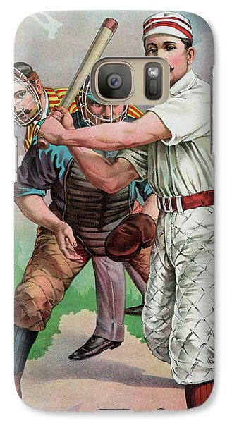 Softball Galaxy S7 Case - Vintage Baseball Card by American School