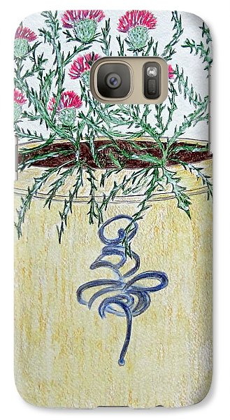 Galaxy Case featuring the painting Vintage Bee Sting Crock And Thistles by Kathy Marrs Chandler