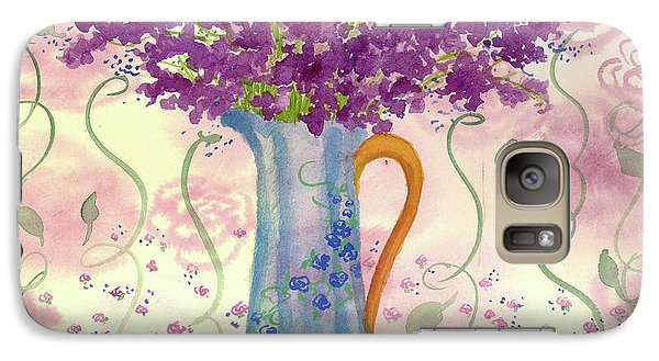 Galaxy Case featuring the painting Vintage Blue Flower Bouquet by Cathie Richardson