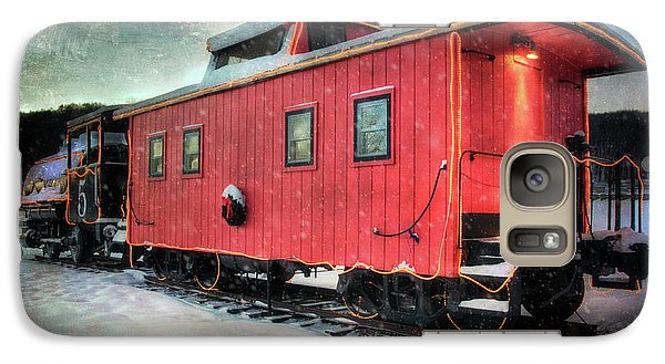 Galaxy Case featuring the photograph Vintage Caboose - Winter Train by Joann Vitali
