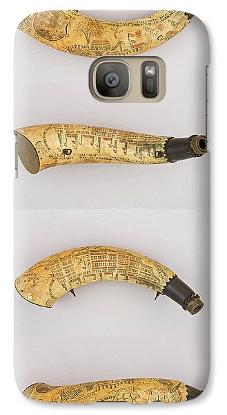 Galaxy Case featuring the photograph Vintage 1767 Colonial American Powder Horn Four Views by John Stephens