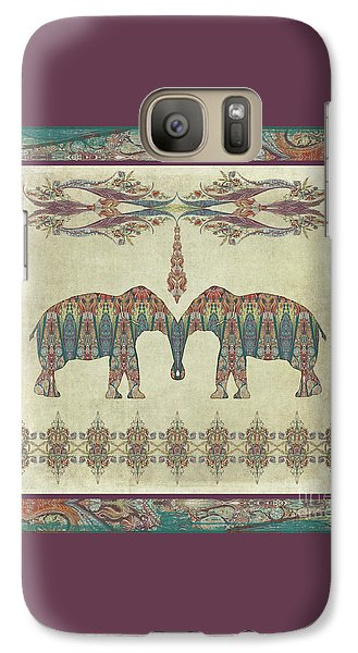 Galaxy Case featuring the painting Vintage Elephants Kashmir Paisley Shawl Pattern Artwork by Audrey Jeanne Roberts