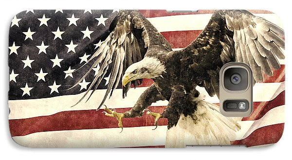 Galaxy Case featuring the photograph Vintage Flag With Eagle by Scott Carruthers