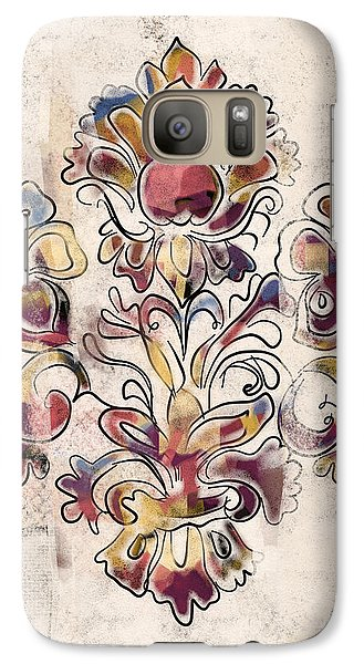 Galaxy Case featuring the mixed media Vintage Fleur by Carrie Joy Byrnes