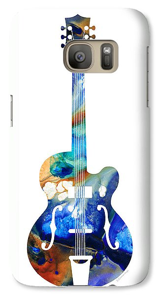 Music Galaxy S7 Case - Vintage Guitar - Colorful Abstract Musical Instrument by Sharon Cummings