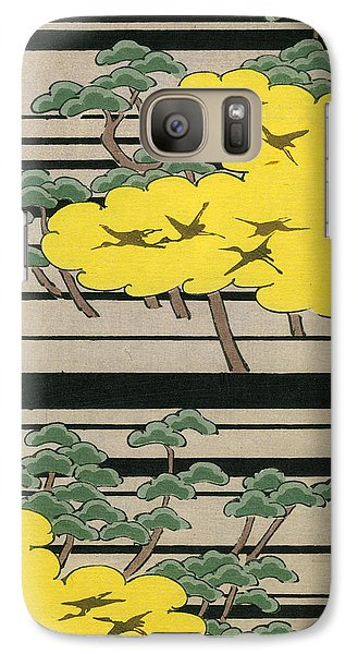 Vintage Japanese Illustration Of An Abstract Forest Landscape With Flying Cranes Galaxy S7 Case