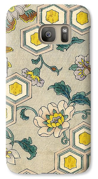 Flowers Galaxy S7 Case - Vintage Japanese Illustration Of Blossoms On A Honeycomb Background by Japanese School
