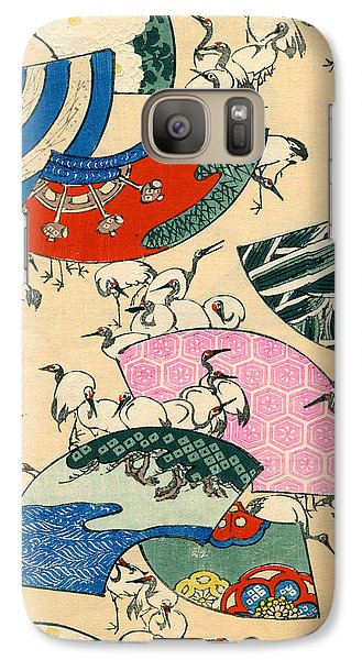 Stork Galaxy S7 Case - Vintage Japanese Illustration Of Fans And Cranes by Japanese School