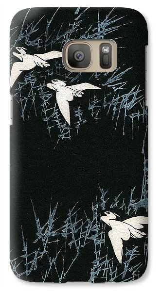 Vintage Japanese Illustration Of Three Cranes Flying In A Night Landscape Galaxy S7 Case by Japanese School