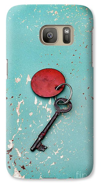 Galaxy Case featuring the photograph Vintage Key With Red Tag by Jill Battaglia