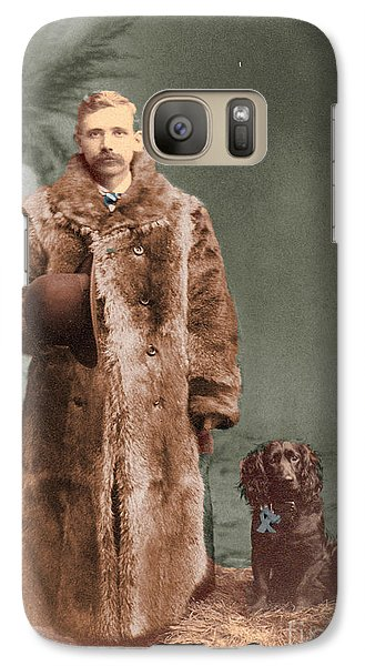 Galaxy Case featuring the photograph Vintage Man And Spaniel Dog by Lyric Lucas