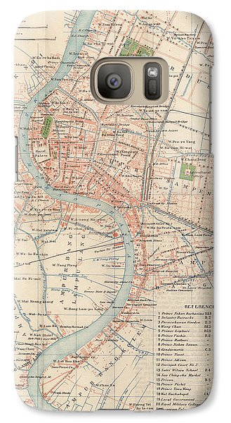 Galaxy Case featuring the drawing Vintage Map Of Bangkok, Thailand From 1920 by Blue Monocle
