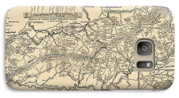 Galaxy Case featuring the drawing Vintage Map Of Great Smoky Mountains National Park From 1941 by Blue Monocle