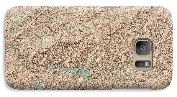 Galaxy Case featuring the drawing Vintage Map Of Great Smoky Mountains National Park - Usgs Topographic Map - 1949 by Blue Monocle