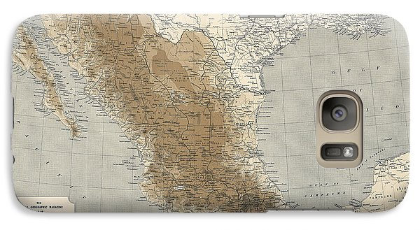 Galaxy Case featuring the drawing Vintage Map Of Mexico - 1911 - National Geographic by Blue Monocle