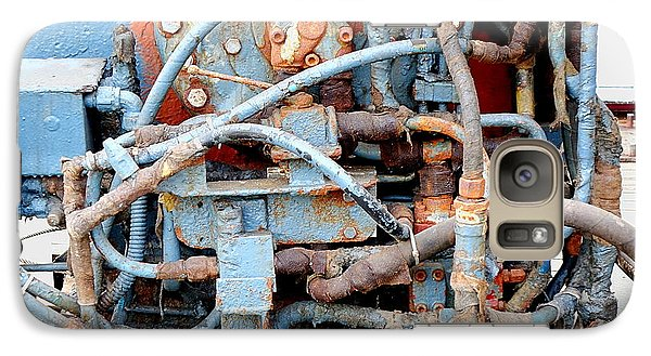 Galaxy Case featuring the photograph Vintage Old Diesel Engine On A Ship by Yali Shi