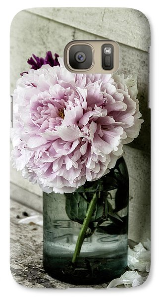 Galaxy Case featuring the photograph Vintage Pink Peony In Ball Jar by Julie Palencia