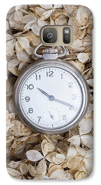 Galaxy Case featuring the photograph Vintage Pocket Watch Over Dried Flowers by Edward Fielding