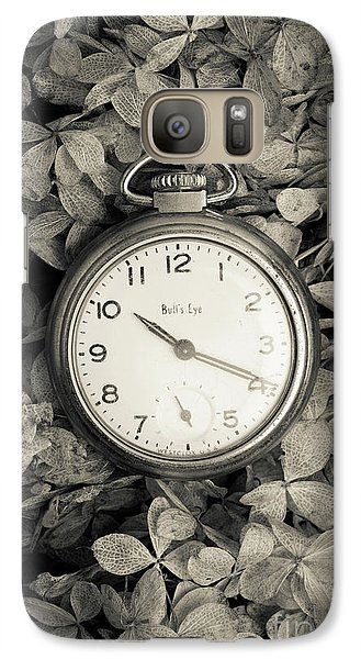 Galaxy Case featuring the photograph Vintage Pocket Watch Over Flowers by Edward Fielding