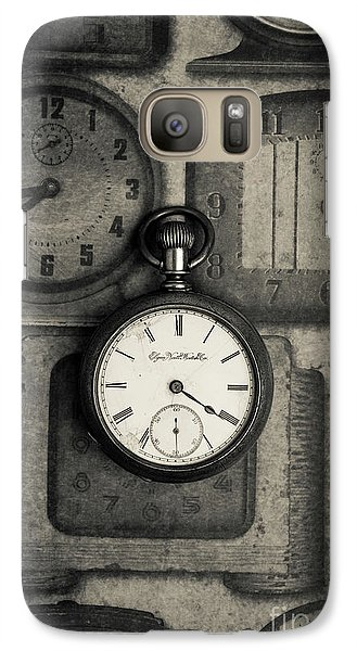 Galaxy Case featuring the photograph Vintage Pocket Watch Over Old Clocks by Edward Fielding