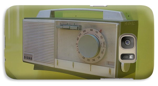 Galaxy Case featuring the photograph Vintage Radio With Lime Green Background by Matthew Bamberg