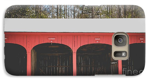 Galaxy Case featuring the photograph Vintage Red Carriage Barn Lyme by Edward Fielding