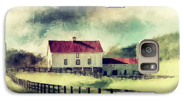 Galaxy Case featuring the digital art Vintage Red Roof Barn by Lois Bryan