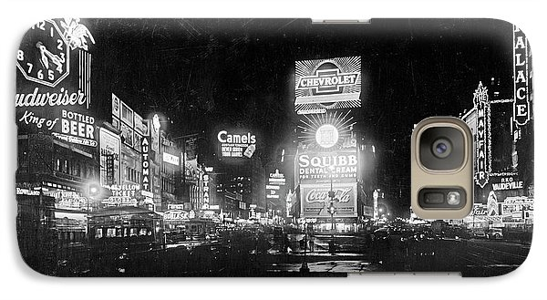 Galaxy Case featuring the photograph Vintage Times Square At Night Black And White by John Stephens