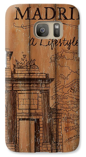Galaxy Case featuring the painting Vintage Travel Madrid by Debbie DeWitt