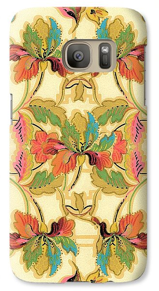 Galaxy Case featuring the digital art Vintage Turquoise Orange Floral Wallpaper Pattern by Tracie Kaska