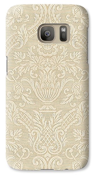 Galaxy Case featuring the digital art Vintage Wallpaper Beige Floral Elegant Damask by Tracie Kaska