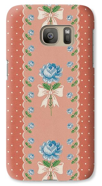 Galaxy Case featuring the digital art Vintage Wallpaper Blue Roses Coral Polka Dots by Tracie Kaska