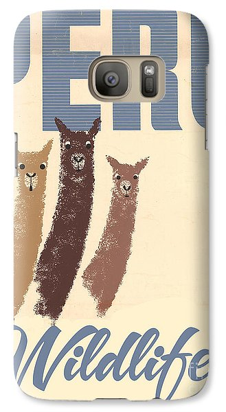 Llama Galaxy S7 Case - Vintage Wild Life Travel Llamas by Mindy Sommers