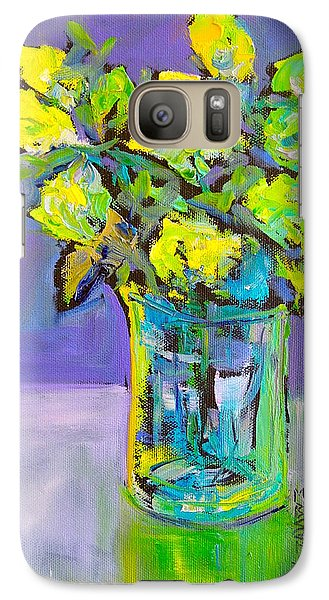 Galaxy Case featuring the painting Violet And Lime by Mary Schiros