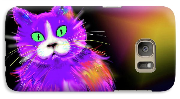 Galaxy Case featuring the painting Violet Dizzycat by DC Langer
