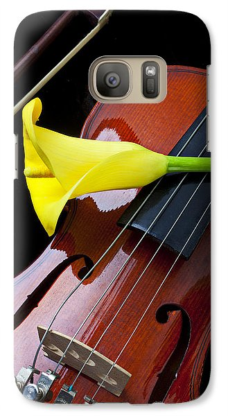Violin Galaxy S7 Case - Violin With Yellow Calla Lily by Garry Gay