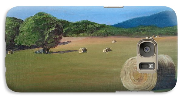 Galaxy Case featuring the painting Virginia Hay Bales by Donna Tuten