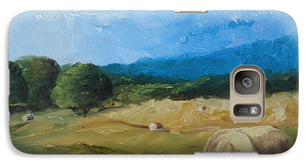 Galaxy Case featuring the painting Virginia Hay Bales II by Donna Tuten