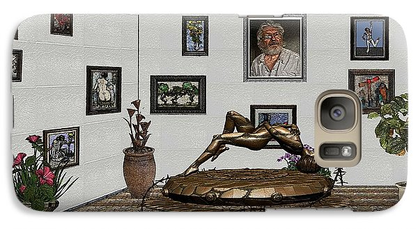 Galaxy Case featuring the mixed media Virtual Exhibition -statue Of Girl by Pemaro