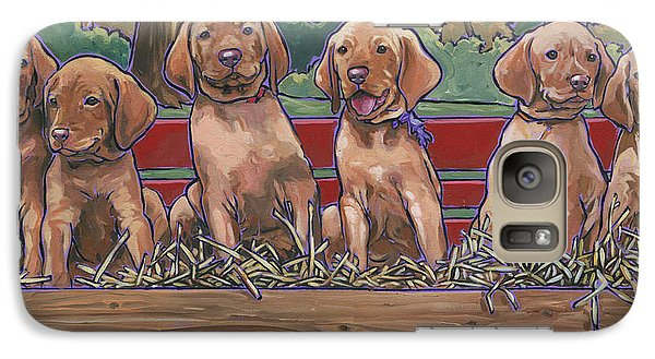 Galaxy Case featuring the painting Vizsla Pups by Nadi Spencer