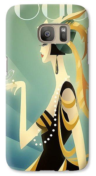 Galaxy Case featuring the digital art Vogue - Bird On Hand by Chuck Staley