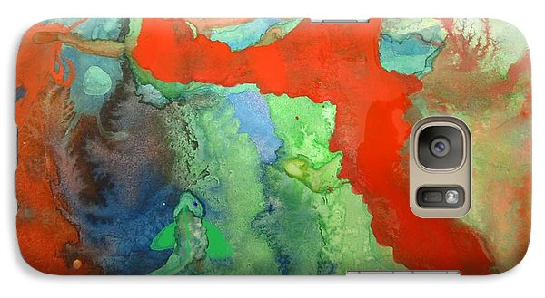 Galaxy Case featuring the mixed media Volcanic Island by Mary Ellen Frazee