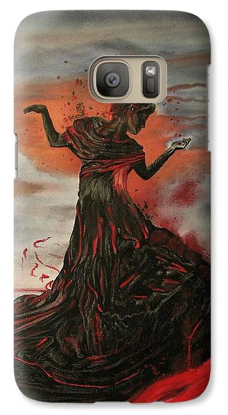 Galaxy Case featuring the painting Volcano Keeper by Melita Safran