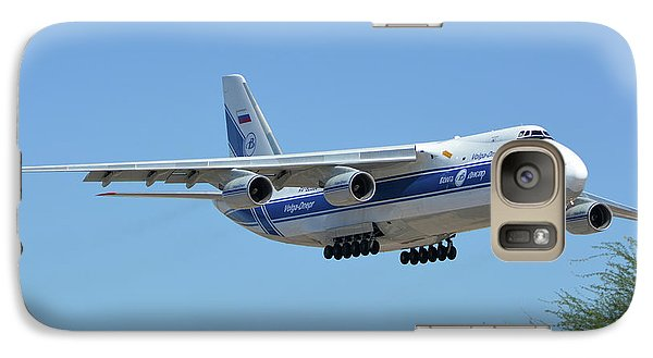 Galaxy Case featuring the photograph Volga-dnepr An-124 Ra-82068 Landing Phoenix Sky Harbor June 15 2016 by Brian Lockett
