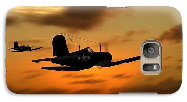 Galaxy Case featuring the digital art Vought Corsairs At Sunset by John Wills
