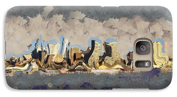 Galaxy Case featuring the mixed media Wacky Philly Skyline by Trish Tritz