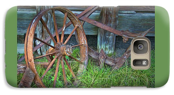 Galaxy Case featuring the photograph Wagon Wheel And Fence by David and Carol Kelly