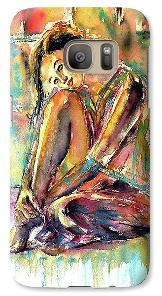 Galaxy Case featuring the painting Waiting For You by Kovacs Anna Brigitta