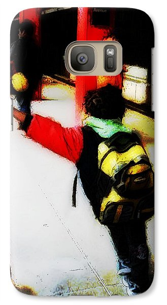 Galaxy Case featuring the photograph Waiting On The Q Train In Flatbush by Iowan Stone-Flowers