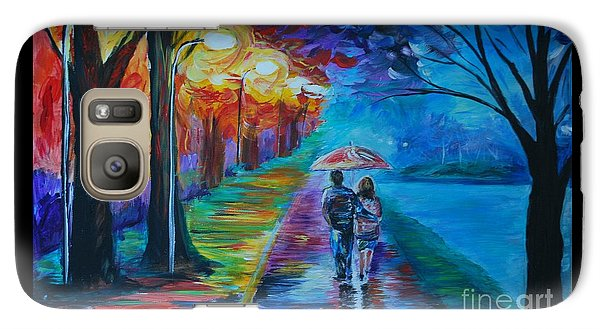 Galaxy Case featuring the painting Walk By The Lake  by Leslie Allen